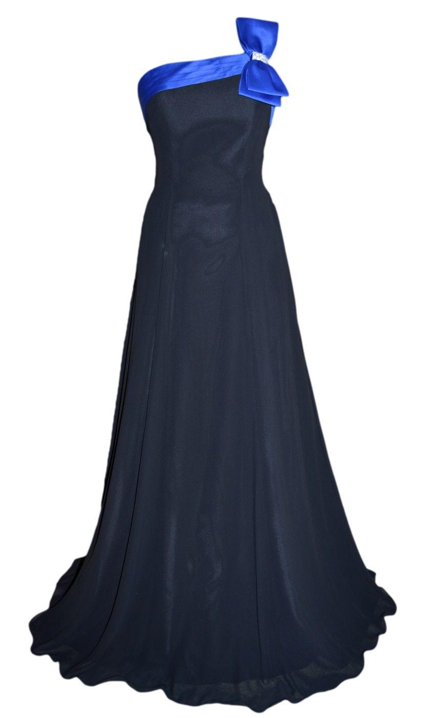 Long grecian black chiffon u royal blue satin trim evening