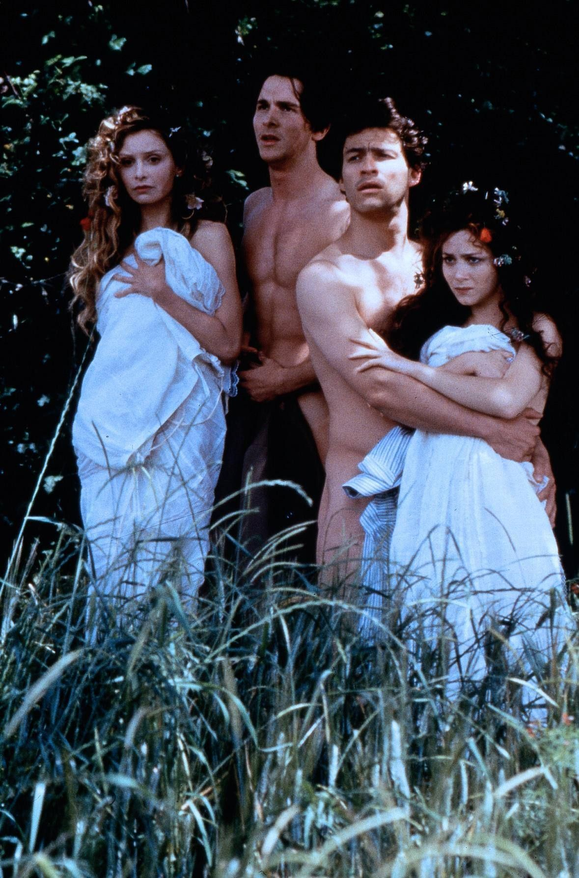 Christian Bale, Dominic West, Calista Flockhart, Anna Friel.. A Midsummer Night's Dream.. love this movie (flowers in their hair)