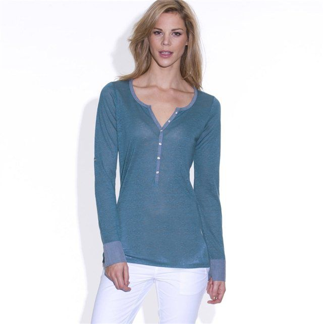 4d56c982c5b Edeis Long-Sleeved Dual Fabric Linen and Cotton T-shirt on shopstyle.co.uk