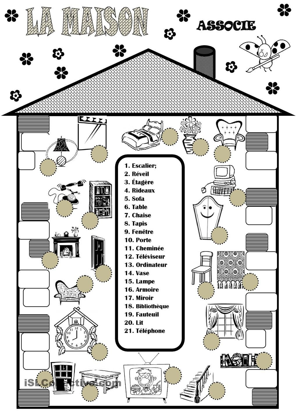 La maison la casa pinterest la maison vocabulaire for Chambre a coucher vocabulaire