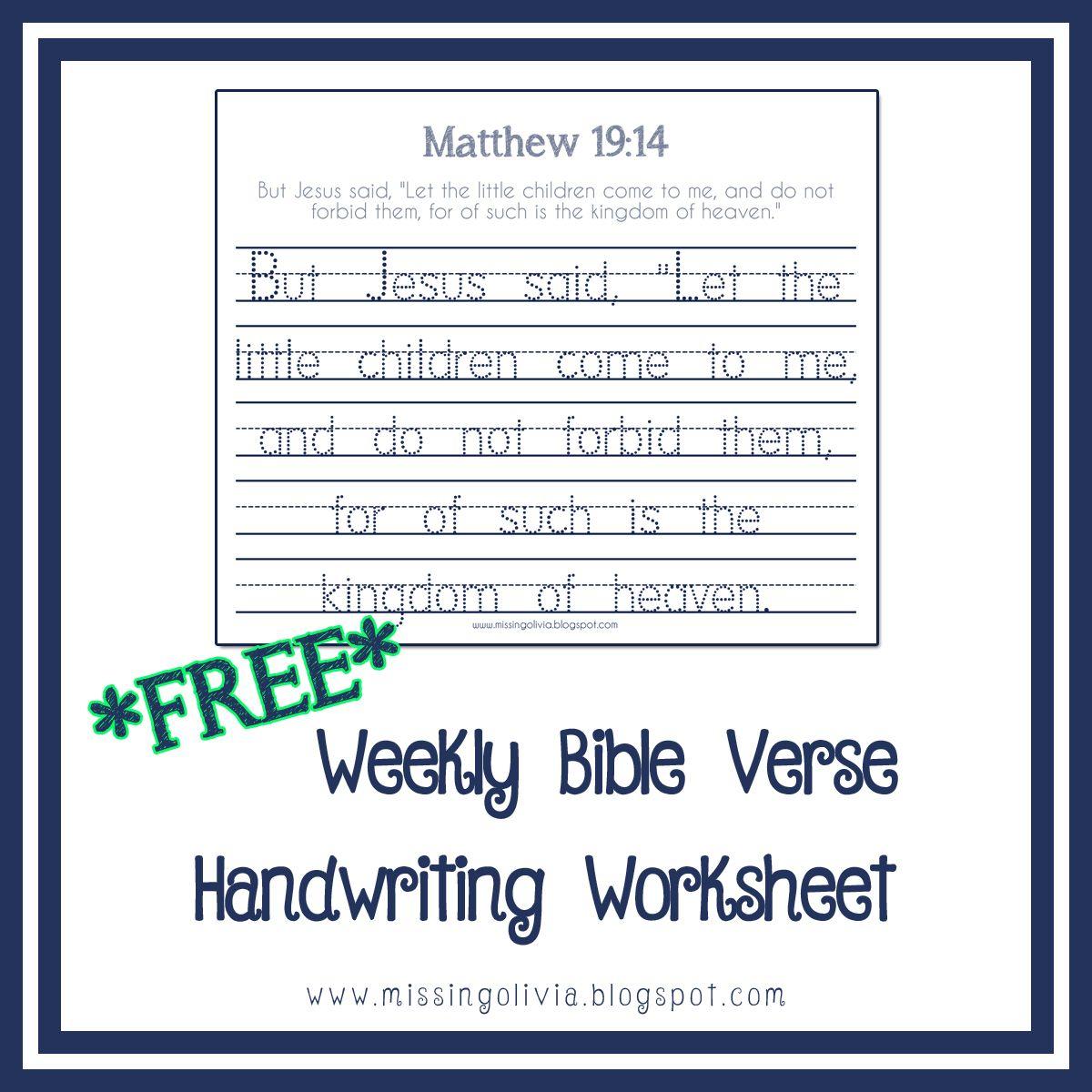 Free Bible Verse Handwriting Worksheet Life As A Moore