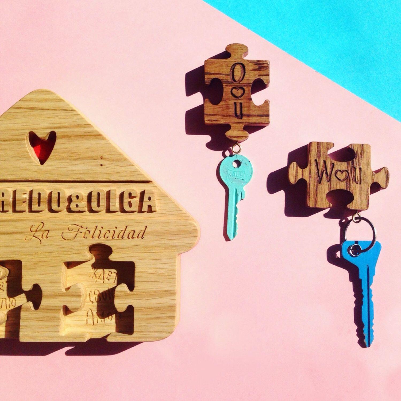 Puzzle in legno catena chiave e portachiavi portachiavi for Progetti di costruzione domestica