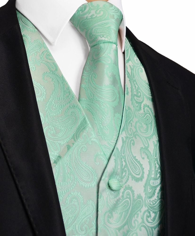Aqua Mint Green XS to 6XL Paisley Tuxedo Dress Vest Waistcoat & Neck ...