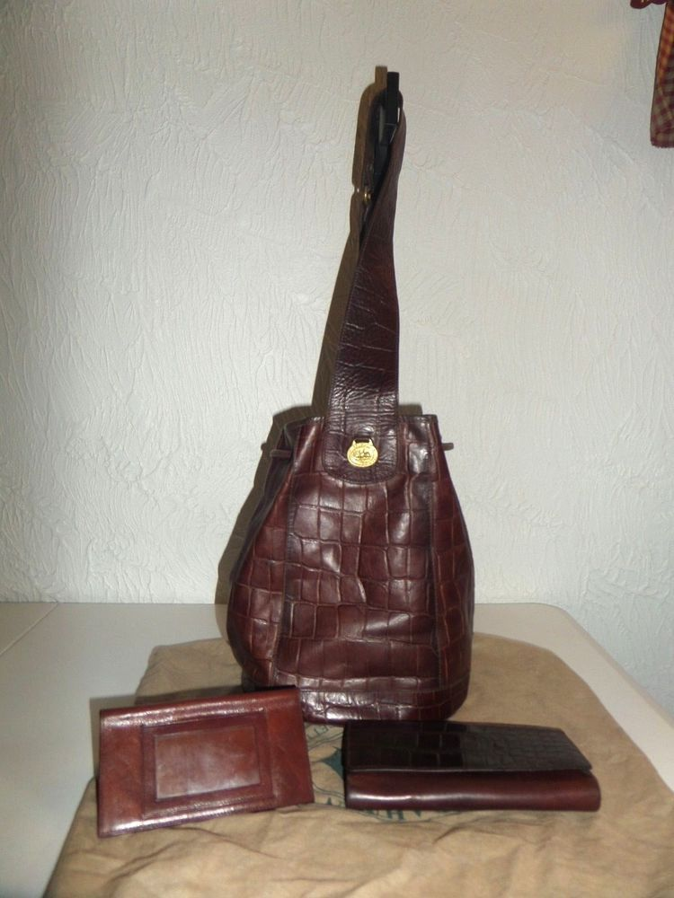 Vintage Brahmin Made In Usa Brown Leather Backpack Slingpack Matching Wallet