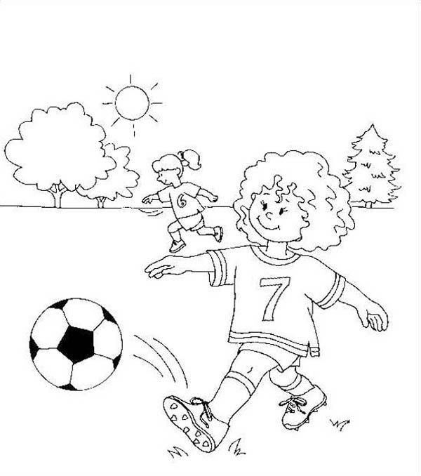 This Little Girl Making A Short Pass On Soccer Game Coloring Page Download Print Online Color Online Coloring Pages Coloring Pages Christmas Coloring Pages