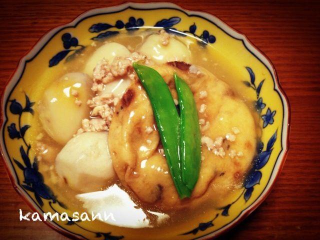 お出汁と生姜を効かせて、ほんわか煮物です(o^^o) - 108件のもぐもぐ - 里芋と飛竜頭の鶏そぼろ餡掛け by かま