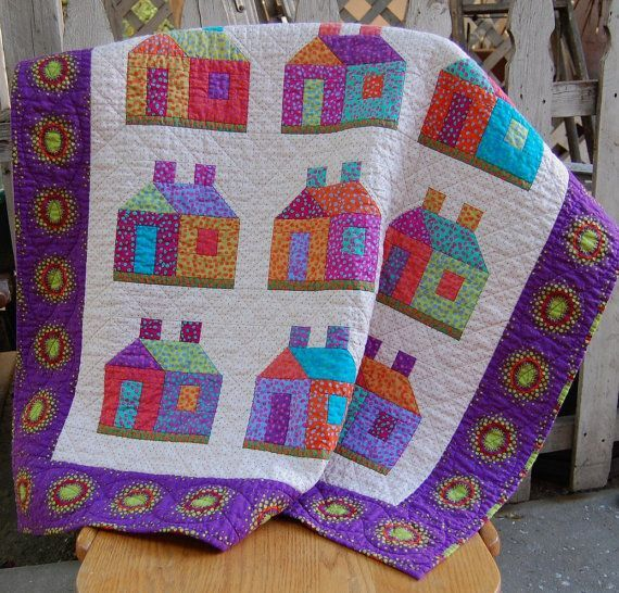 Bright Colorful House Quilt.