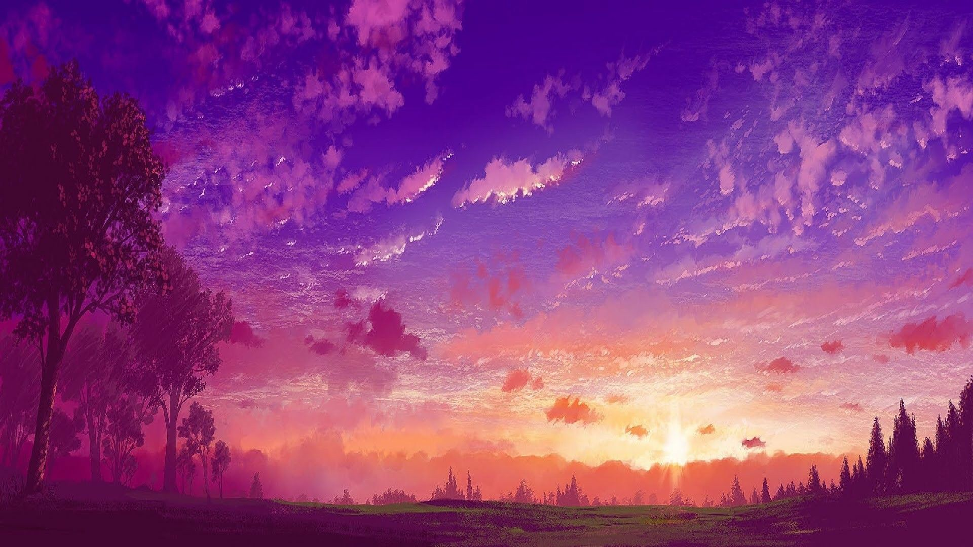 Anime Landscape Anime Purple Sunset Pejzazhi