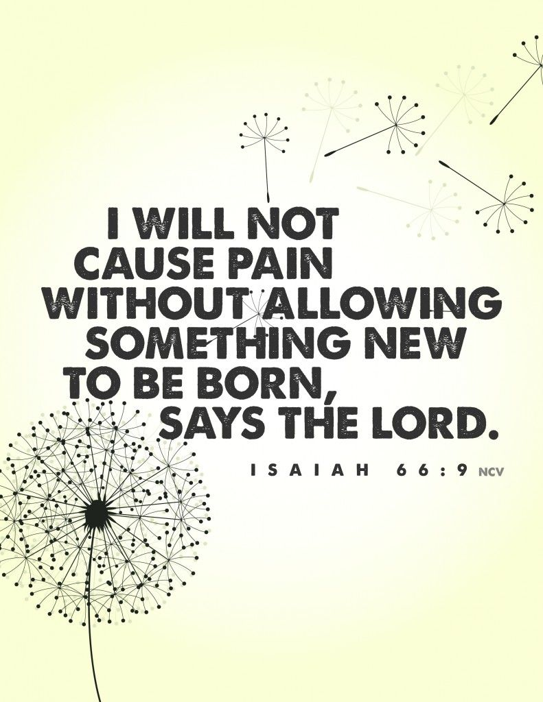 """I will not cause pain without allowing something new to be born, says the Lord."" Isaiah 66:9"