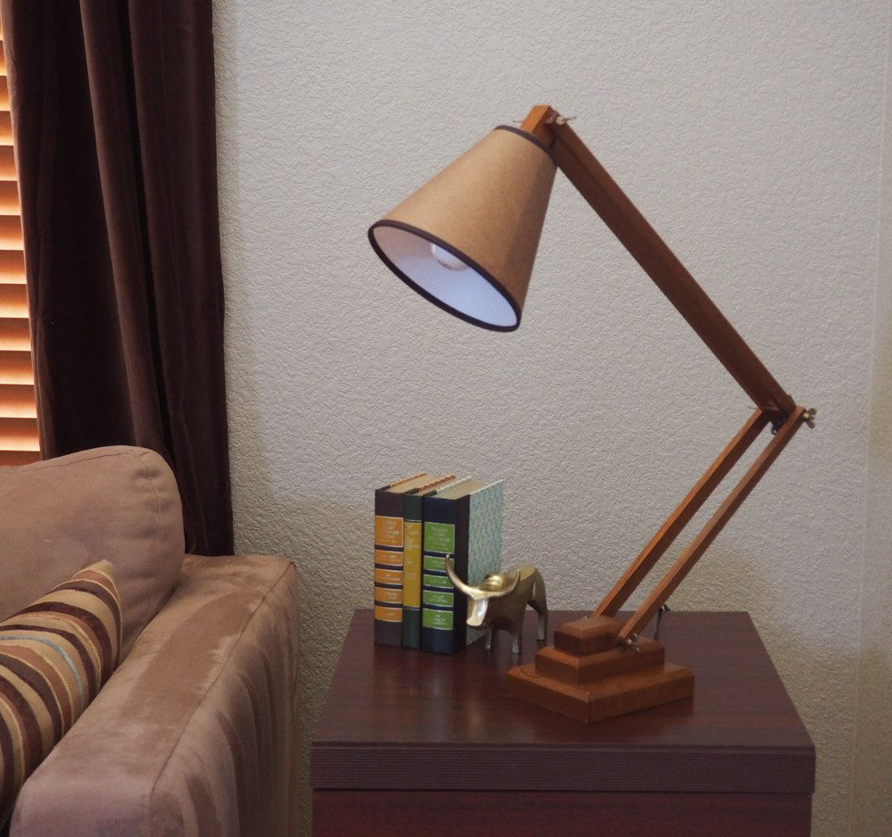Large Adjustable Wooden Table Lamp Desk Lamp Architect Lamp Task Light With Shade Craftsman Style Home Decor Wooden Table Lamps Architect Lamp Table Lamp