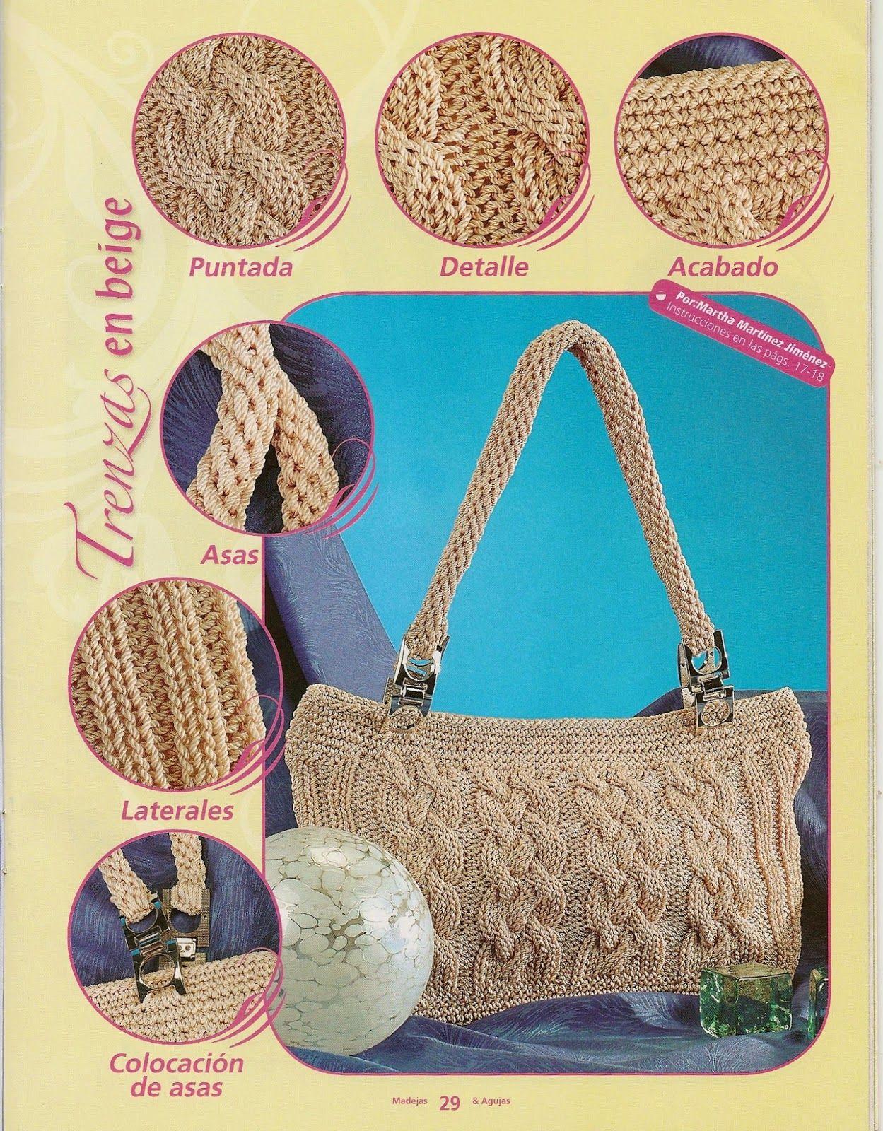 Como hacer bolsos con dos agujas tejidos que me gustaron - Como hacer bolsos tejidos ...