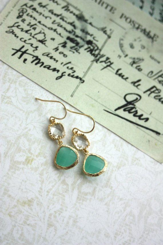 Mint Opal Clear Crystal Glass Drop Dangle Earrings. by Marolsha