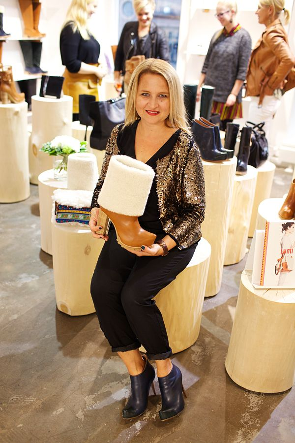 7822c65d98f LUMI s designer Sanna Kantola looking amazing at the Lumi Shoe Store  opening party.