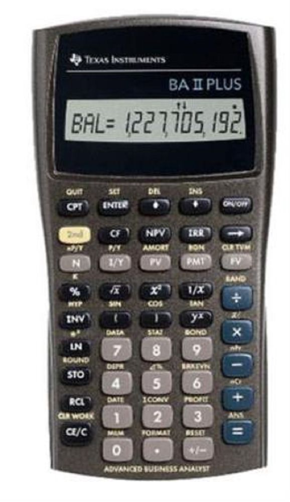 Texas Instruments Advanced Financial Calculator BA II Plus