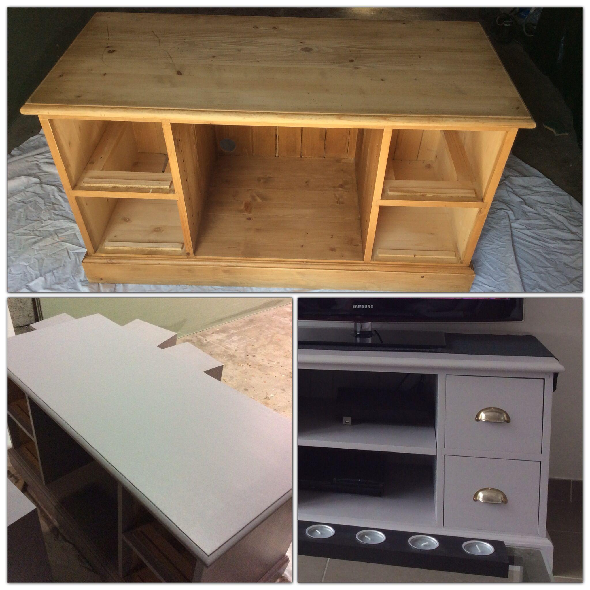 meuble tv en bois ponc et repeint en gris poivr luxens d co meuble mobilier de salon et. Black Bedroom Furniture Sets. Home Design Ideas