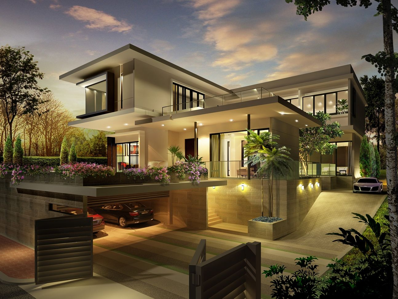 Pavilion Villa With Basement Car Park Luxury Homes Exterior Modern Exterior House Designs Modern House Exterior