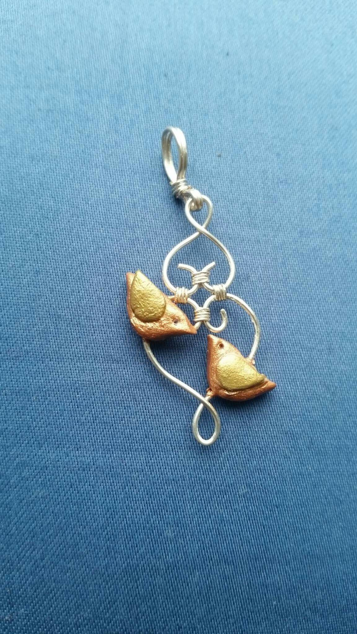 Lovebirds pendant made with airdry clay and silver wire | Clay ...