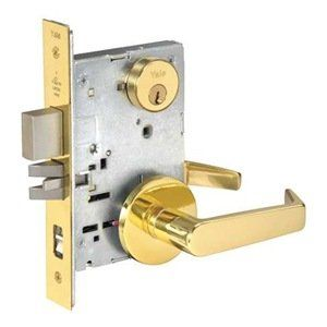 """Mortise Lock, Rose , Entrance Apartment by Yale. $505.05. Yale Mortise Lever Locksets, Grade 1 and 2YM SeriesFeatures quick lever handing and a patented, tamperproof, quick-reversible latchbolt. Lockset handing takes only seconds. Has 1"""" throw stainless steel deadbolt and 3/4"""" throw 2-piece stainless steel latchbolt.ANSI/BHMA Grade 1 certified. ADA compliant.Backset: 2-3/4""""Strike: 4 x 1-1/4 x 1-1/4"""" ANSIDoor Thickness: 1-3/8"""" to 1-3/4""""UL Listed up to 3-hr. fire doorMortise Lo..."""