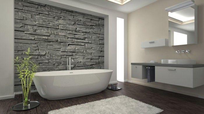 Pareti bagno senza piastrelle pannelli effeto pietra grigio locale