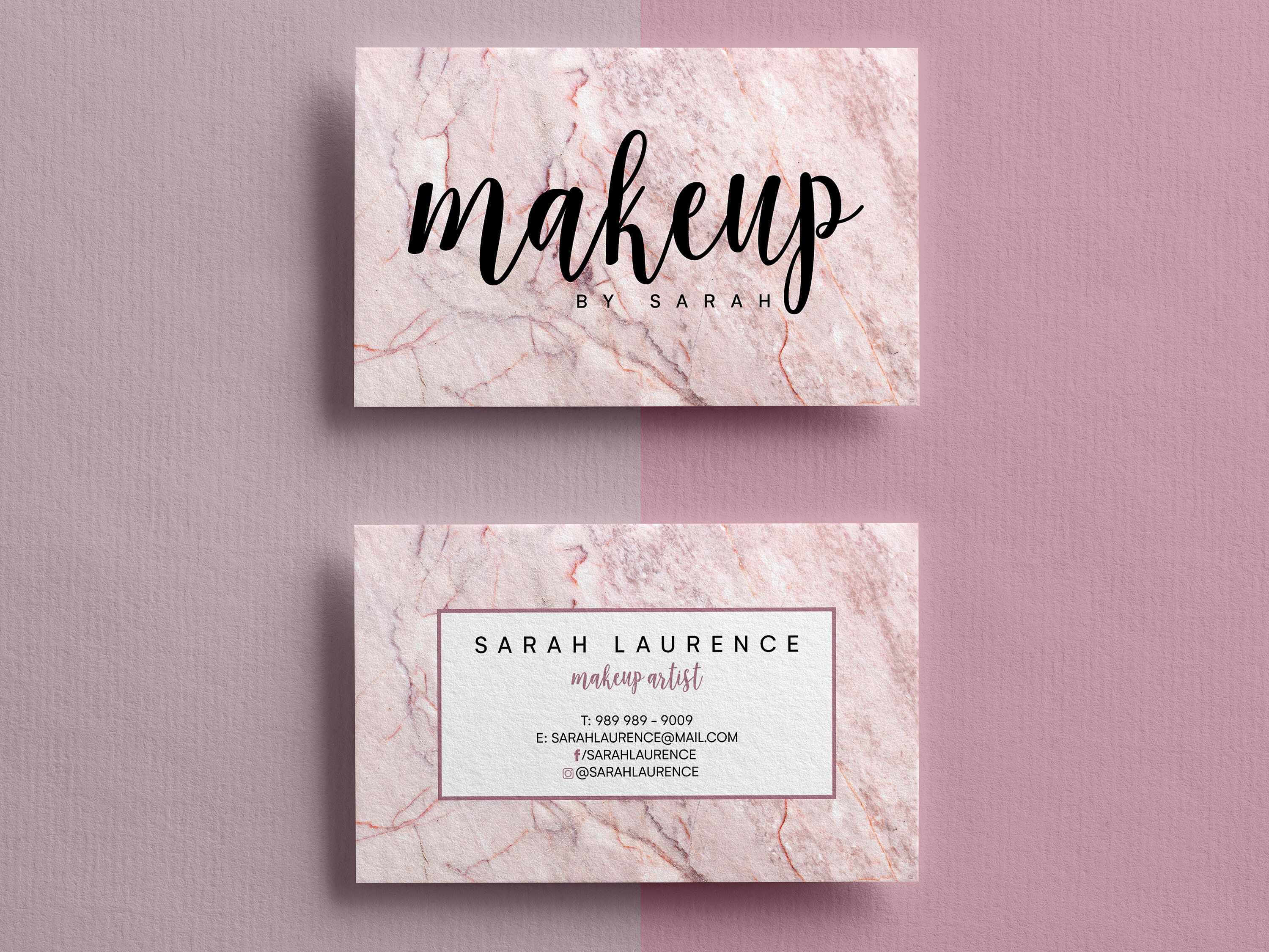 Business Card Template Custom Business Cards Business Card Etsy Business Card Design Makeup Business Cards Business Card Fonts
