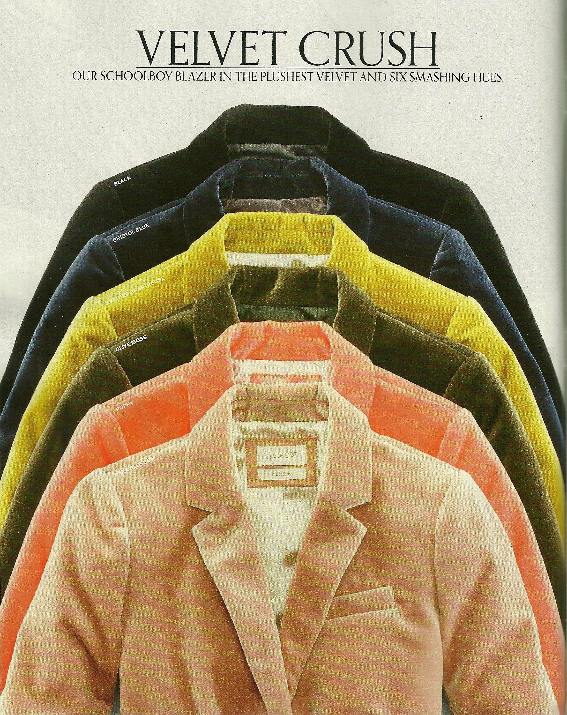 dcf3efaaa7f J. Crew October 2011 catalog - Velvet Schoolboy Blazer. See the full  catalog at