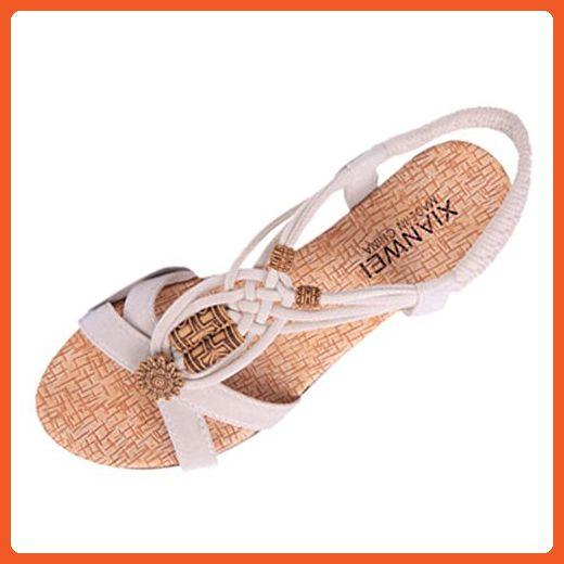 a3b9251a87803 Jiyaru Women's Sweet Summer Flats Sandals With Bohemian Beads Beige ...