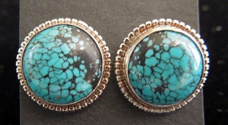 Sterling Silver Turquoise Button