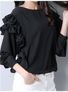 Long Sleeve Round Collar Loose T-Shirt