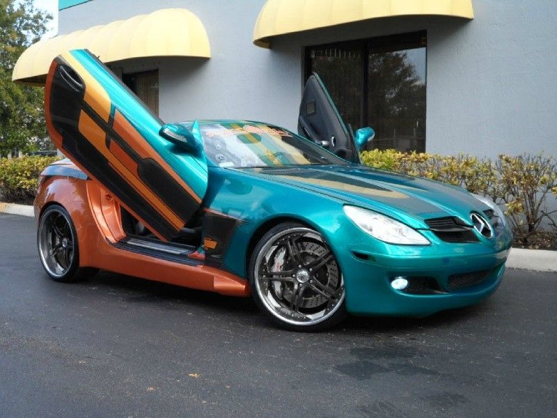 Mercedes Benz Slk 350 With Lambo Doors And Hellacious 80s Pro Street Looking Paint Mercedes Benz Slk Mercedes Slk Mercedes Benz Slk 350