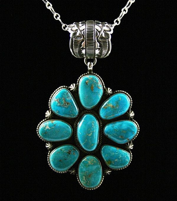 Terry Martinez Rare High Grade Blue Gem Turquoise Cluster Pendant - turquoise direct