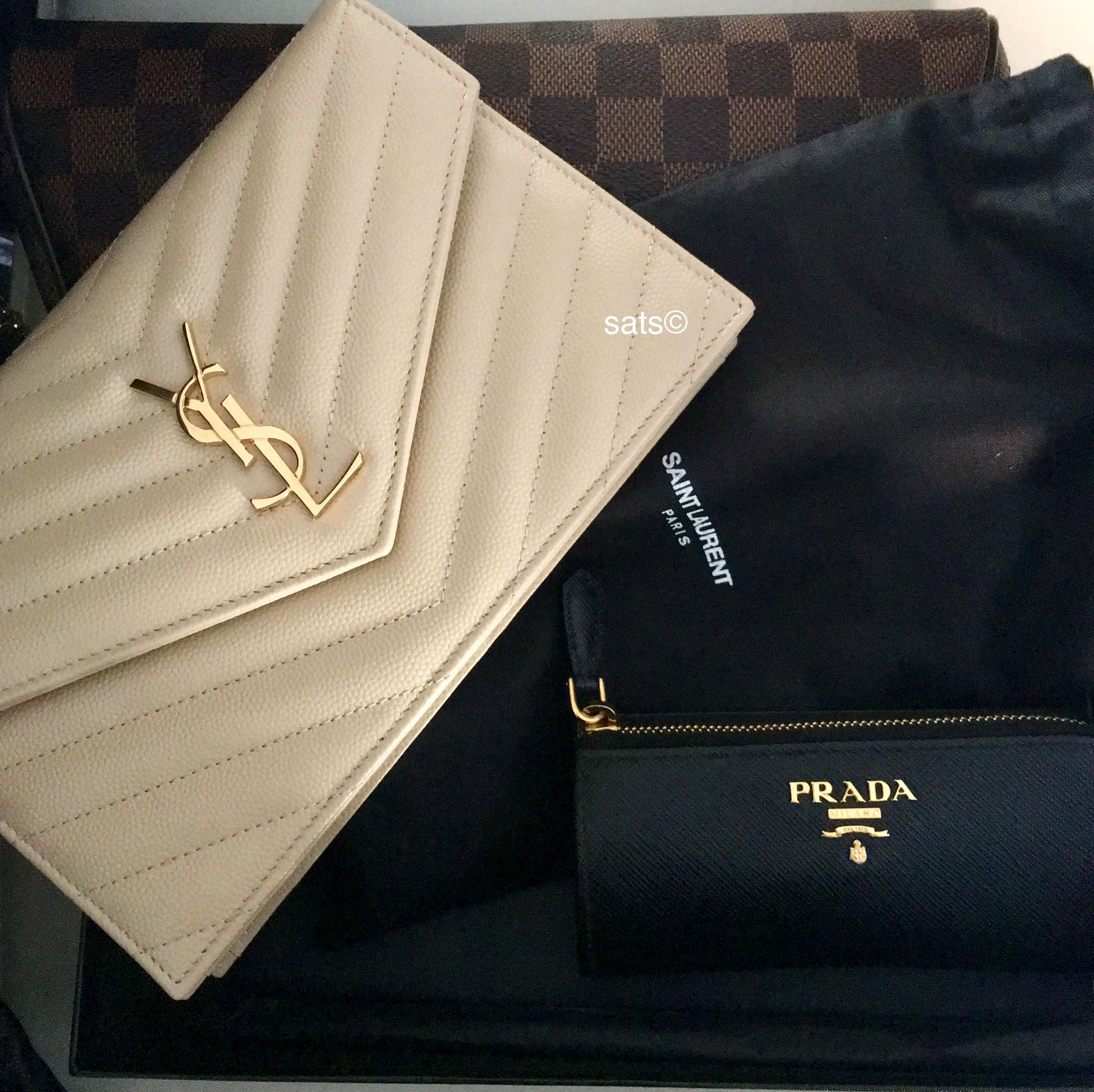 0a6e32c6b8c1 YSL Saint Laurent Nude Powder wallet on chain WOC bag and Prada key holder  pouch
