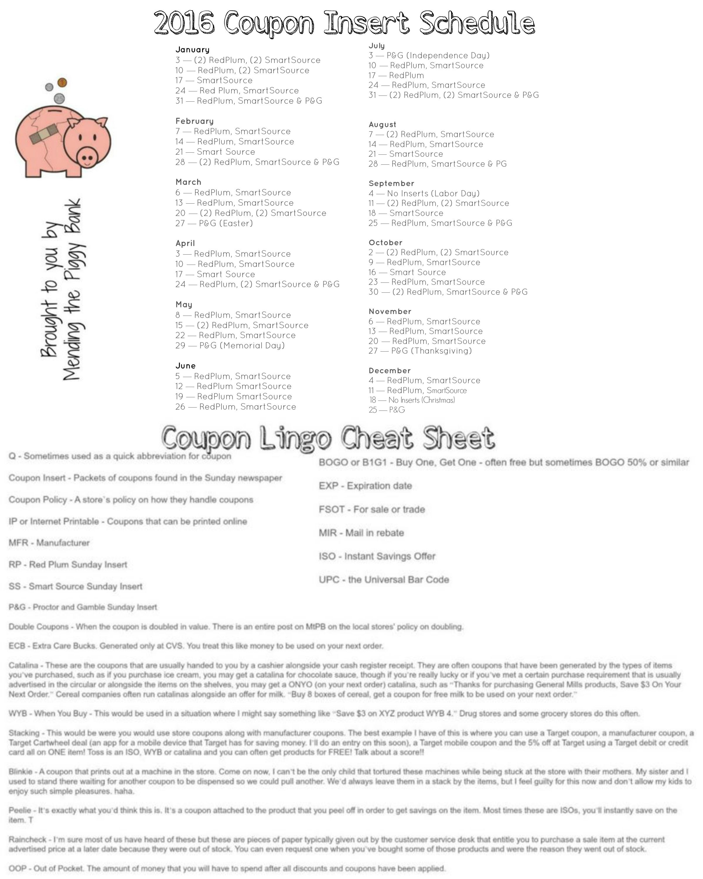 2016 Sunday Coupon Insert Schedule And Coupon Lingo Cheat
