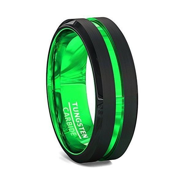 Liked On Polyvore Featuring Mens Fashion Jewelry Rings Tungsten Wedding Green Ring
