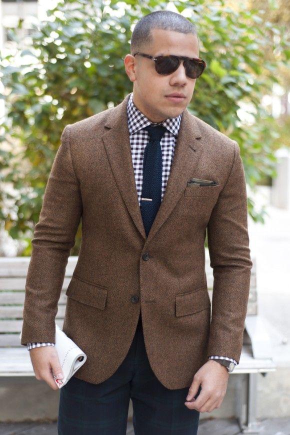 Brown Tweed Jacket Navy Gingham Shirt Navy Knit Tie