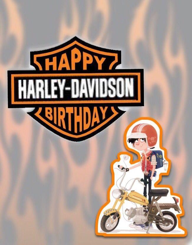 Happy birthday, 21❤️, Harley davidson, chico con casco en motoneta, llamas