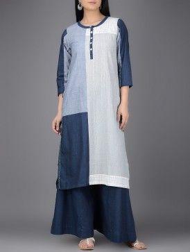 Grey-Navy Blue Round Neck Organic Cotton Kurta with Patchwork
