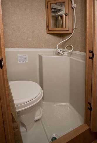Genial Bathroom For Teardrop Trailer. Sit On The Toilet And Take A Shower. Cool.  Need A Sink Too. Lol