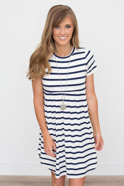 abfeafce784e Shop our Striped Babydoll Dress in Ivory Navy. Also available in ...