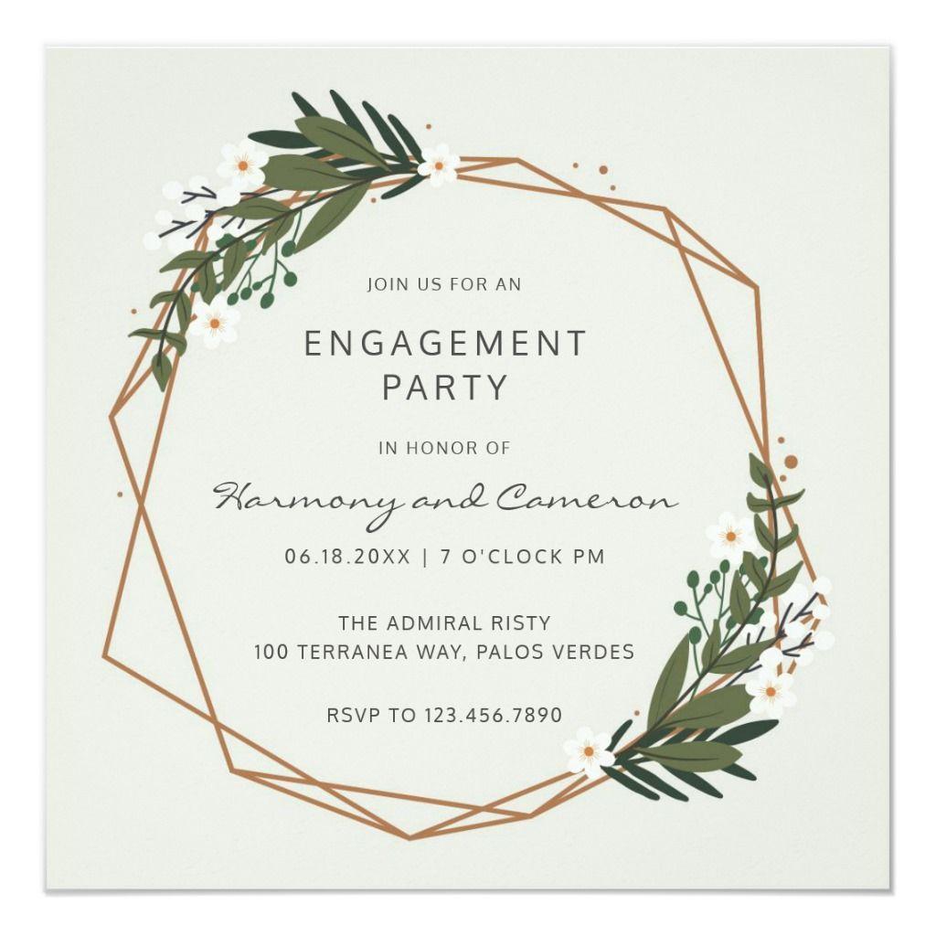 Modern Geometric Greenery Engagement Party Invitat