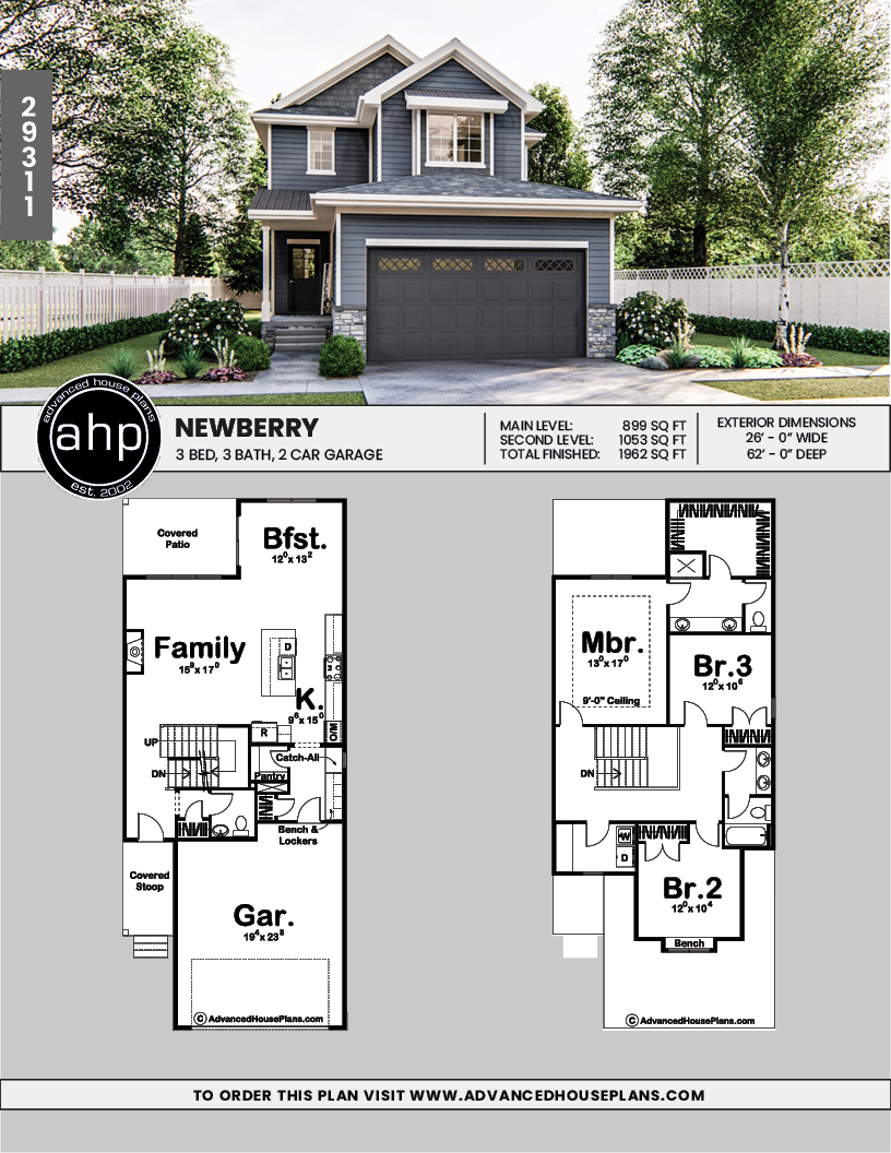 2 Story Traditional House Plan Newberry Narrow House Plans Sims House Plans Narrow Lot House Plans