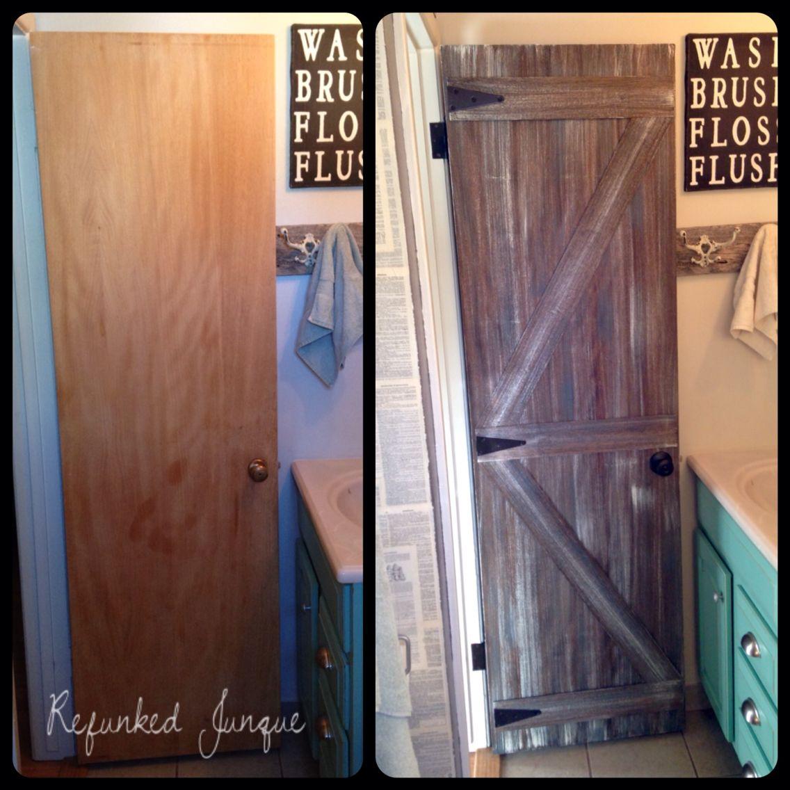 Hollow Core Door To A Faux Barn Door Barn Doors Sliding Interior Barn Doors Barn Door