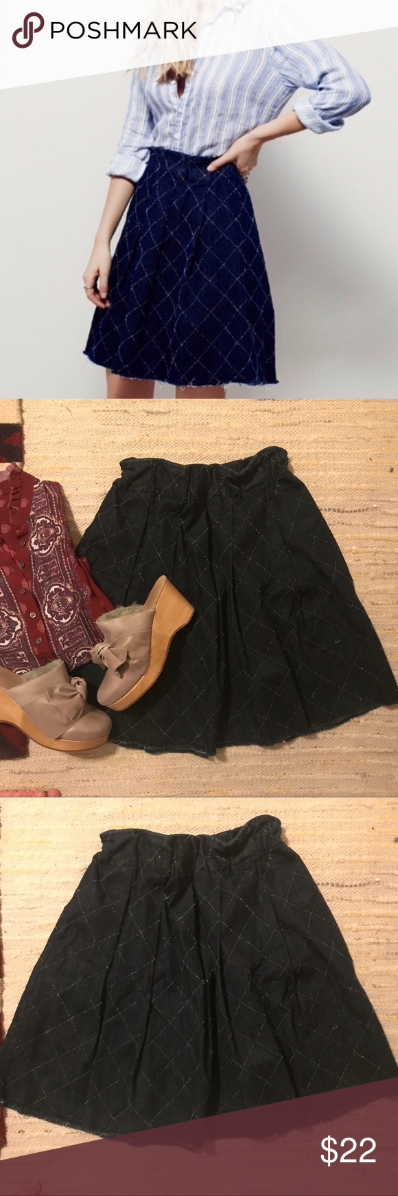 Free People • baby love denim skirt Soft denim swingy a-line skirt with embroidery.  Elastic waist.  Size small, fits like a 4-6 IMO.  Made in USA 🇺🇸 Color is closer to the stock photo maybe not quite as bright.  I just didn't have good light when I took my pics. Free People Skirts A-Line or Full