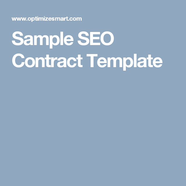 Beautiful Sample SEO Contract Template