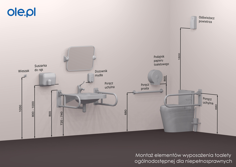 Toaleta Niepelnosprawni Poręcz Uchwyt łazienka Wc