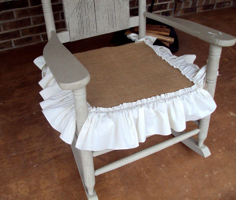 Farmhouse rustic burlap nursery porch rocker rocking chair