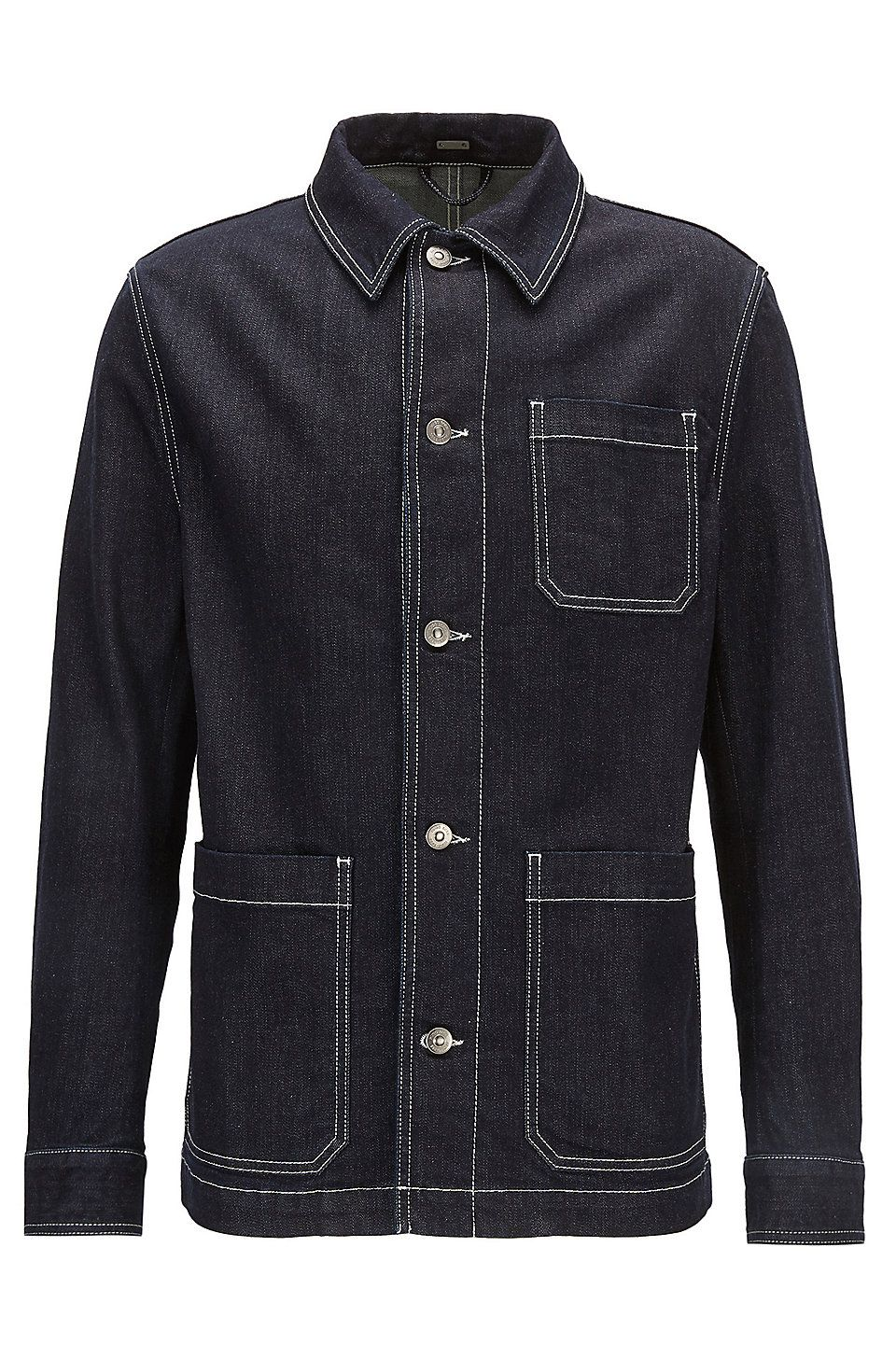 Stretchdenim jacket with Kent collar Dark Blue from BOSS