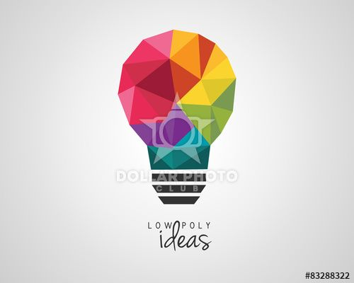Colorful low poly light bulb as a creative idea symbol