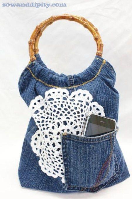 bolsos textil bolso y Bolsos Pinterest de monederos Reciclaje Jean mano y reciclado Reciclado f7FZwnxqI