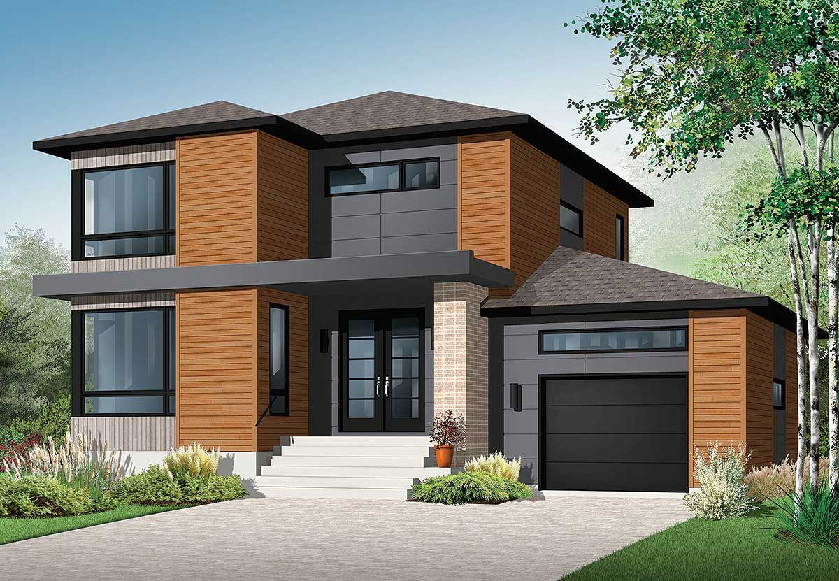 Plan 22322dr Stately Modern With Garage Contemporary House Plans Modern Style House Plans Modern Contemporary House Plans