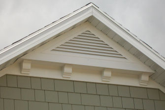 Home Exterior Triangle Mission Style Gable Attic Vent With Shingle Siding Love Cottage Exterior Gable Vents Craftsman Exterior